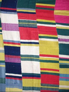 Ewe men's cloth, early C20th: Usually these weft faced cloths are only red, blue and white, but on this one the weaver went wild with new colours. The only example I have seen like it. Now in a private collection.