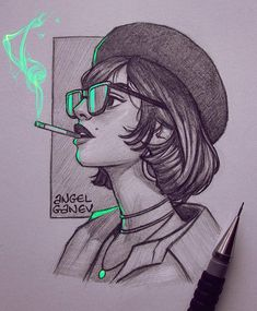 art sketches Sweet Poison~ Pencil sketch with some green lighting Reference from taylorlashae . Btw Ive never smoked in my life and honestly I Pencil Sketch Drawing, Girl Drawing Sketches, Pencil Art Drawings, Cool Art Drawings, Anime Sketch, Cartoon Drawings, Smoke Drawing, Painting & Drawing, Draw Character
