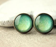 Green Stud Earrings wish earrings Small Round Clips or POST Simple Clip On Earrings yellow green Clipon summery green earstuds E652