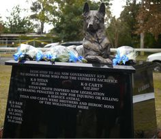 K9 Memorial  Unveiling - July 5,  2012  Location -  Emmett Park, Tahmoor, Australia  Sculpted by Peter Lewis