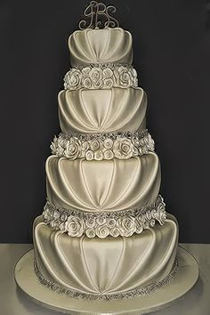 Cakes...look like a wedding gown! beautiful