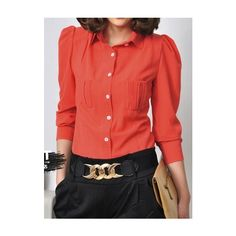 Red Lapel Long Sleeve Pocket Chiffon Blouse ($38) ❤ liked on Polyvore