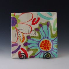 Jubilation Small Flareware Platter 8 Made to Order  Jubilation was inspired by the colorful palette of spring flowers outside our studio that sits