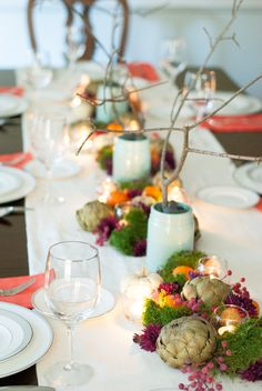 Artichoke centerpieces Thanksgiving Table Runner, Hosting Thanksgiving, Thanksgiving Centerpieces, Fall Table, Decor Inspiration, Bourbon Cocktails, Fall Decor, Holiday Decor, Decor Crafts