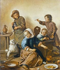 Jan Steen Children Baking Pancakes c. 1662-65 Nivaagaards Malerisamling, Copenhagen