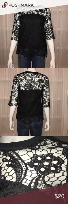 Zara Lace Top Zara black lace top with elbow length sleeves. This top is partially lined in a black fabric that has a bit of stretch to it. Worn once. Zara Tops Blouses