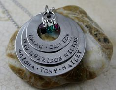 """Mis Queridos Nietos""  My Beloved GrandChildren Personalized Handstamped Stainless Steel Necklace."