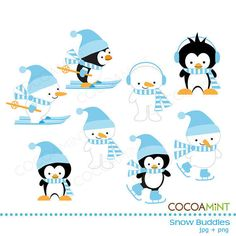 Blue Snow Buddies Clip Art by cocoamint on Etsy