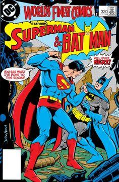 "The nefarious Rem turns Superman into a sleepwalker…and bids him destroy Batman in ""Thirty Seconds Over Dreamland. Batman Vs Superman, Superman Stuff, Dc Comics Superheroes, Batman Comics, Dc Comic Books, Comic Book Covers, Old Comics, Vintage Comics, Caricature"