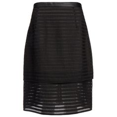 Tibi Organza Stripe Layered Pencil Skirt ($130) ❤ liked on Polyvore featuring skirts, black, zipper pencil skirt, organza skirt, layered skirt, zipper skirt and striped skirt