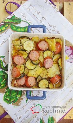 moja smaczna kuchnia: Pieczona kiełbasa z warzywami w oliwie z rozmarynem