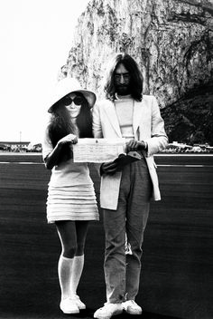 Yoko Ono and John Lennon show off their marriage certificate, 20th March 1969!