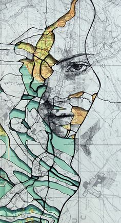 I love these. Amazing human portraits rendered on maps by Ed Fairburn.