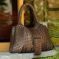 Soda pop-top handbag, 'Golden Power' (Made from real soda pop-top tabs! Cool!!)