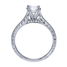 14k White Gold Victorian Style  Solitaire Engagement Ring