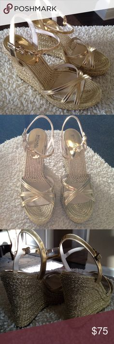 NWOT MICHAEL Michael Kors Metallic Gold Wedge These have major WOW factor! They are new, but without tags and are a size 11. They are the MICHAEL Michael Kors Cicely Metallic Wedge Sandal. They have a Gold Leather Upper, a strappy open toe, have an adjustable ankle strap and have a rope wrapped wedge heel. MICHAEL Michael Kors Shoes Wedges