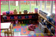 shoestring budget sunroom to playroom transformation Sunroom Playroom, Playroom Storage, Conservatory Playroom Ideas, Conservatory Decor, Playroom Decor, Rustic Country Homes, Rustic Houses Exterior, Home Daycare, Daycare Ideas