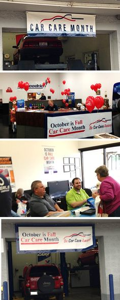 Banners and poster on display at @PfefferleTire in Ohio for #FallCarCareMonth