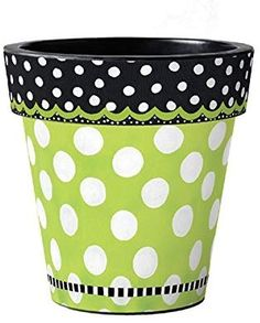 Studio M Frolic Green with Dots Art Pot Flower Pot Art, Clay Flower Pots, Flower Pot Crafts, Painted Clay Pots, Painted Rocks Craft, Painted Flower Pots, Flower Pot People, Clay Pot People, Clay Pot Projects