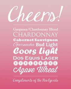 Blush, ombre colored bar sign for wedding open bar! Cheers! From the blog of freelance graphic designer Six Leaf Design!