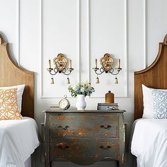 Beautiful twin bedroom - lovely for guests too. Dream Bedroom, Home Decor Bedroom, Lounge, Dresser As Nightstand, Nightstands, Bedside, Guest Bedrooms, Guest Room, Beautiful Bedrooms