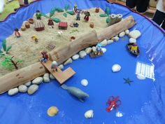 Pirate small world area! Water, sand, pebbles and wood. Adding ice to this tomorrow for pupils to discuss changes, and have added washing up liquid and straws in the past to work on fine motor skills by blowing bubbles!