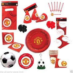 MANCHESTER UNITED Football Birthday Party, invites, cups, napkins, plates & more