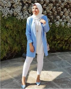 blue blazer with white jeans-Hijab fashion online – Just Trendy Girls