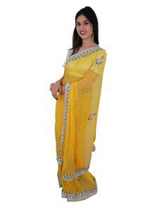 En Stock! Sari mariage soirée Bollywood jaune perlé Tenue indienne  #NarkisFashion #WeddingSaree #SariBollywood