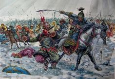 Mongols of the The Golden Horde battle and annihilate a medievel Russian army.