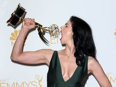 Pin for Later: Relive the Best Moments From the 2014 Emmys  Sarah Silverman showed off her big Emmy appetite.
