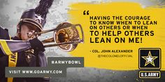 "In honor of the #ArmyBowl, U.S. Army Soldiers share what #teamwork means to them: ""Having the courage to know when to lean on others or when to help others lean on me!"""