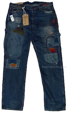 $695 New POLO RALPH LAUREN cortlandt 300 patchwork indian mens jean 36x34 36 34