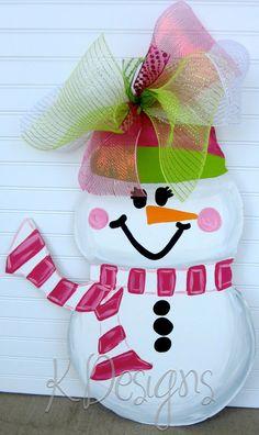Winter Snowman  Winter door hanger  Christmas Door by paintchic, $45.00