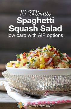 Looking for an easy side dish? This Spaghetti Squash Salad is super tasty and is an easy recipe you can throw together in a flash (as quick as under ten minutes! Plus it's paleo and low carb and has AIP options. It's kid-friendly too -- my boys LOVE it! Low Carb Recipes, Whole Food Recipes, Vegetarian Recipes, Cooking Recipes, Healthy Recipes, Skinny Recipes, Healthy Salads, Yummy Recipes, Free Recipes