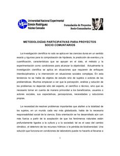 Metodologías participativas para proyectos socio comunitarios by Shegalindez via slideshare