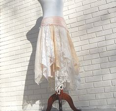 Tattered Lace Fairy Woodland Skirt White by GallimaufryClothing, $88.00