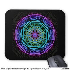 Mousepad. Neon Lights Mandala Design Mousepad. This design is available on many more products. #mousepad #computer #buy #accessory