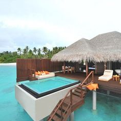 A fantasy #honeymoon private villa in Ayada, Maldives - yes please! For more #honeymoon inspiration visit www.modernwedding.com.au.