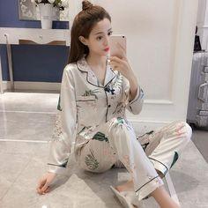 982d5b775a Women s Pajamas Suits Top and Pants Pajama Sets Plus Size 5XL 4XL Autumn  Summer Satin Pajamas Home Suit Female Pajama Sleepwear
