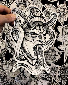 Sketch Tattoo Design, Tattoo Sketches, Tattoo Drawings, Tattoo Designs, Demon Tattoo, Samurai Tattoo, Dark Tattoo, Doodle Tattoo, Dot Work Tattoo