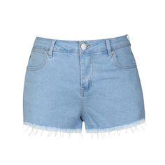 Ally Fashion Raw hem short ($18) ❤ liked on Polyvore featuring shorts, bottoms, lt blue, blue short shorts, pocket shorts, short shorts, jean shorts and summer denim shorts