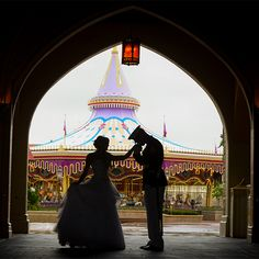 Kisses in the archway of Cinderella Castle at Disney's Magic Kingdom