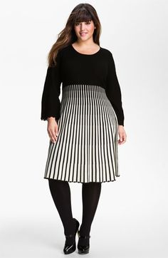 I wouldn't wear a sweater dress, but I would rock this in a rayon with tiny darts at the empire waist with this stripe! Calvin Klein Sweater Dress (Plus) available at Curvy Girl Fashion, Look Fashion, Plus Size Fashion, Womens Fashion, Plus Size Girls, Plus Size Women, Plus Size Dresses, Plus Size Outfits, Plus Zise
