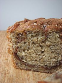Trisha Yearwood's banana bread tried it without cinnamon mixure, lowered to 1 cup of sugar all in one loaf pan.  delicious