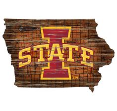 Iowa State Distressed State with Logo Wall Art Iowa State Cyclones, Iowa Hawkeyes, Ohio State Buckeyes, Map Logo, Logo Sign, Louisville Cardinals, Tree Wall Decor, State Map, Wall Hanger