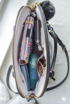 Purse Organization- Three Things to Organize While Watching TV - Kelley Nan School Bag Essentials, Purse Essentials, What In My Bag, What's In Your Bag, Inside My Bag, What's In My Purse, College Bags, Work Bags, Work Tote