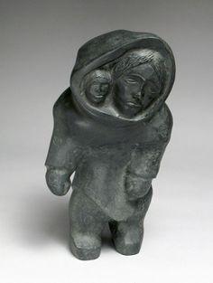"""Inuit, Mother & Child, ca. 1990, granite, Thomas Sevoga Sivuraq, 10.25 x 5.5 x 5"""""""