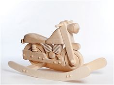 Wooden Rocking Motorcycle, Unpainted Rocker Motorcycle, Wooden Rocking Toy…