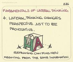 thinking: Lateral thinking changes perspective just to be provocative. De Bono talks a lot about provocation as a means, for example, of deliberating provoking something impossible just to provide a new perspective. For example, when. Kaizen, Design Thinking Process, Design Process, Social Design, Lateral Thinking, Behavioral Economics, Critical Thinking Skills, New Perspective, Emotional Intelligence